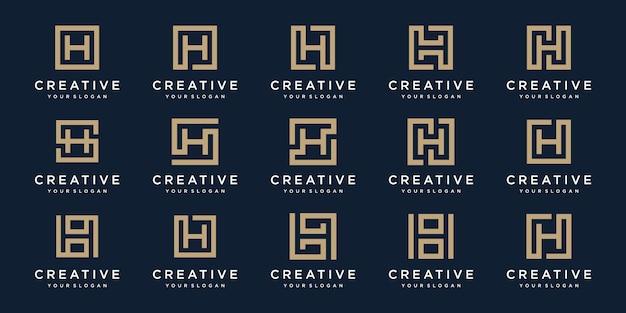 Conjunto de design de logotipo letras h com estilo square.