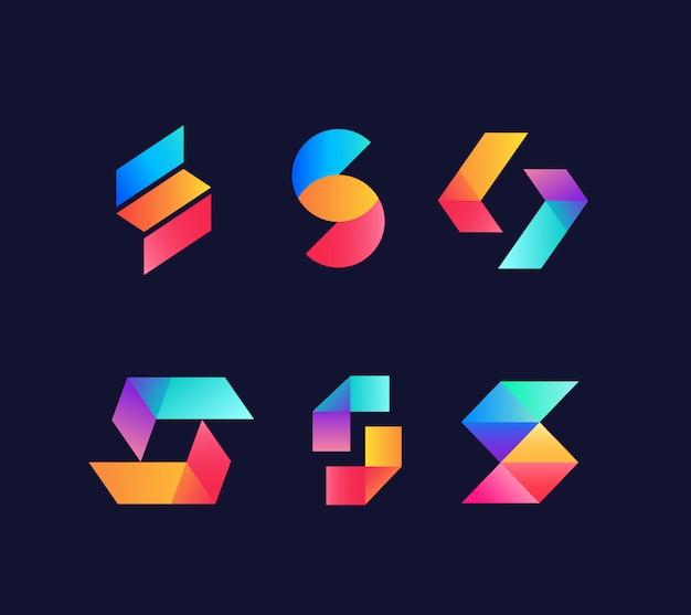 Conjunto de design de logotipo letras iniciais s