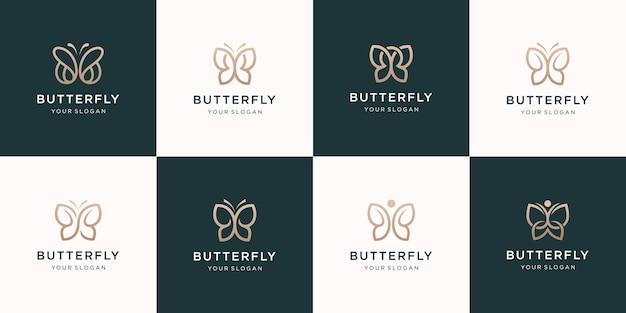 Conjunto de design de logotipo minimalista de borboleta
