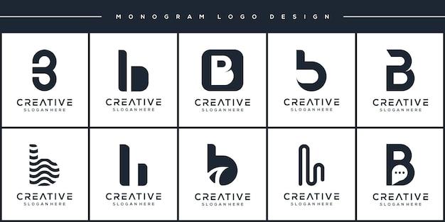 Conjunto de design de logotipo moderno da letra b do monograma
