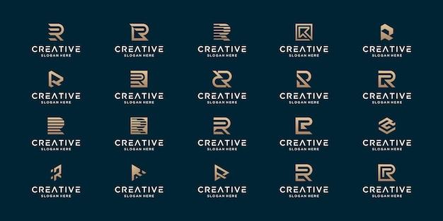 Conjunto de design de logotipo monograma abstrato r inicial de luxo.