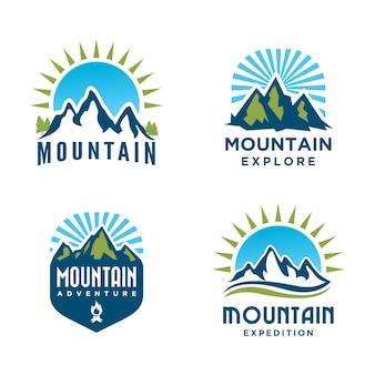 Conjunto de design de logotipo montanha e aventuras ao ar livre. rótulos de turismo e caminhadas