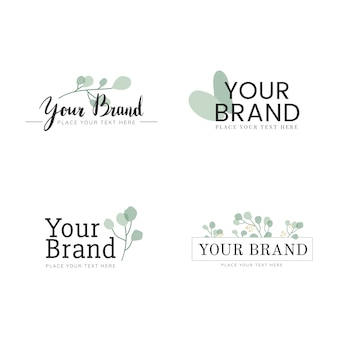 Conjunto de design de logotipo natural