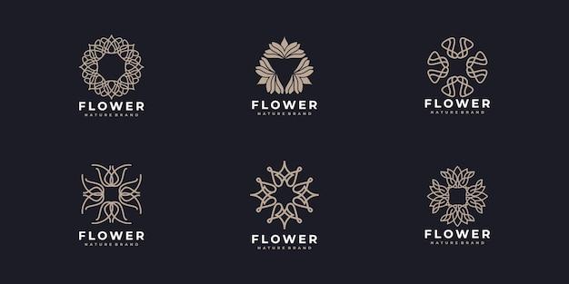 Conjunto de design de logotipo rosa de flor de arte de linha elegante