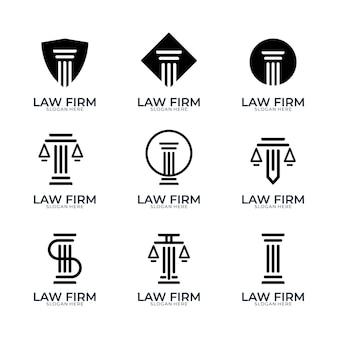 Conjunto de design de logotipo simples de escritório de advocacia