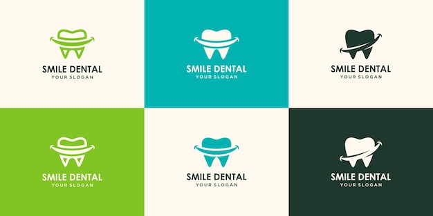 Conjunto de design de logotipo smile dental