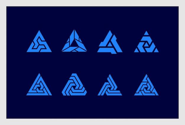 Conjunto de design de logotipo triângulo em estilo abstrato. logotipos podem ser usados para negócios, identidade visual, identidade corporativa, empresa.