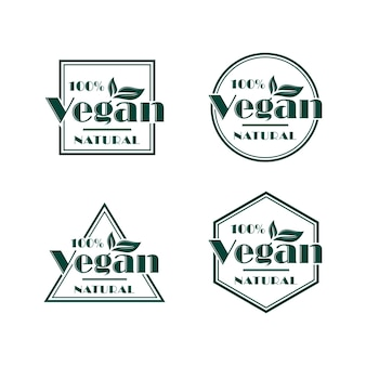 Conjunto de design de logotipo vegan