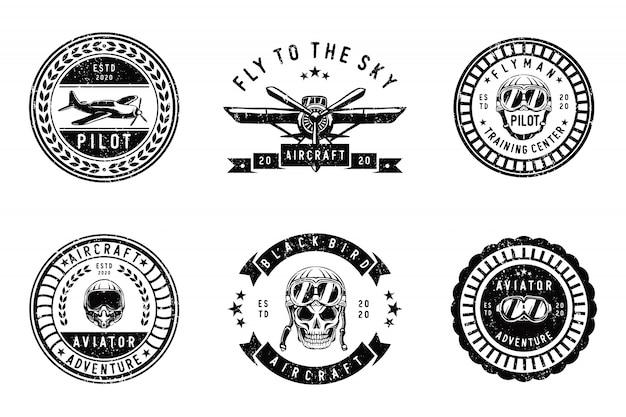 Conjunto de design de logotipo vintage aircraf