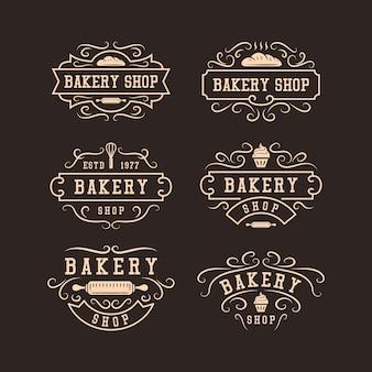 Conjunto de design de logotipo vintage de padaria