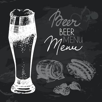 Conjunto de design de lousa de mão desenhada de cerveja oktoberfest. textura de giz preto