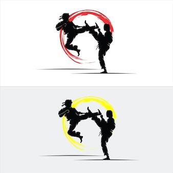 Conjunto de design de luta de silhueta