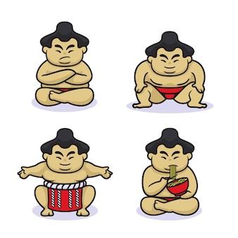 Conjunto de design de lutador de sumô fofo