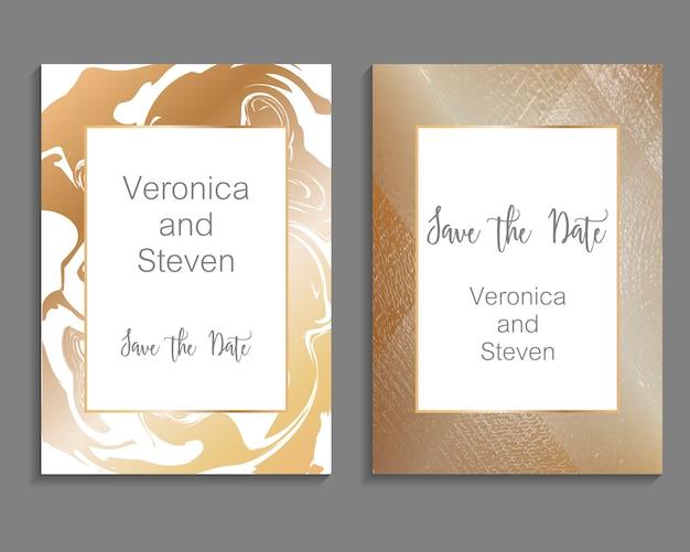 Conjunto de design de luxo para modelo de cartão de convite de casamento