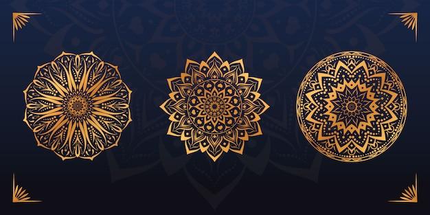Conjunto de design de mandala dourada