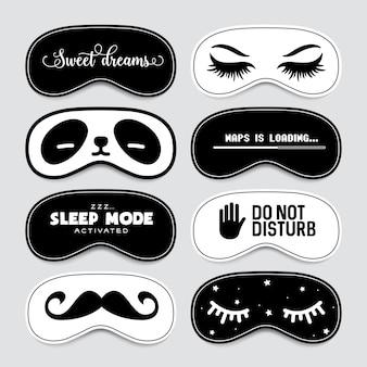 Conjunto de design de máscara a dormir.