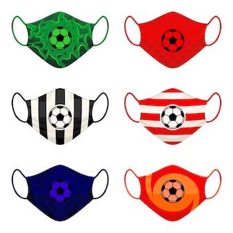 Conjunto de design de máscaras faciais para torcedores de times de futebol