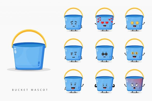Conjunto de design de mascote balde bonito