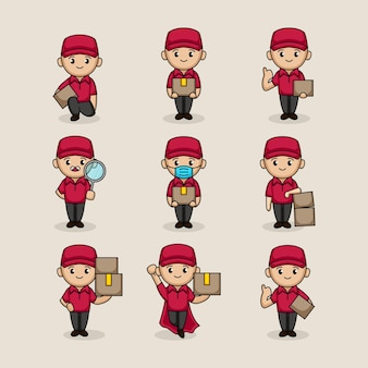 Conjunto de design de mascote de carteiro entregador fofo