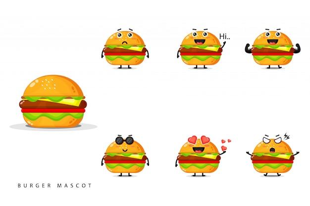 Conjunto de design de mascote hambúrguer bonito