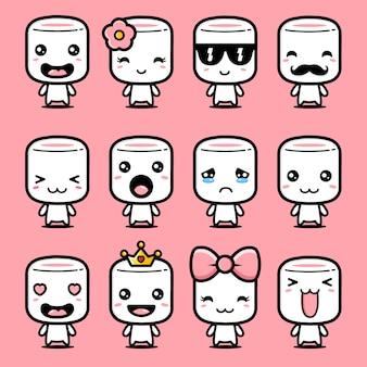 Conjunto de design de mascote marshmallow bonito