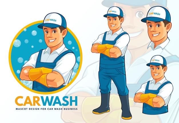 Conjunto de design de mascote para lavagem de carros
