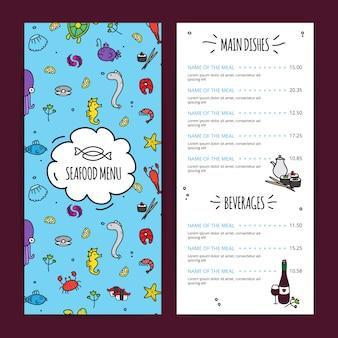Conjunto de design de menu de frutos do mar