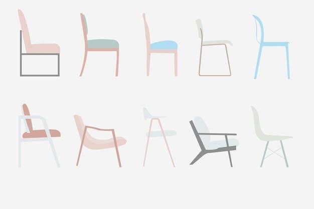 Conjunto de design de mobiliário de escritório de vetor de cadeiras de estilo de vista lateral