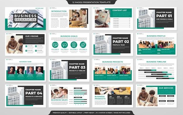 Conjunto de design de modelo de apresentação com layout moderno e minimalista