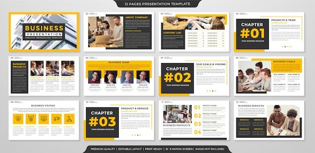 Conjunto de design de modelo de apresentação com uso de estilo moderno e minimalista para infográfico e relatório anual