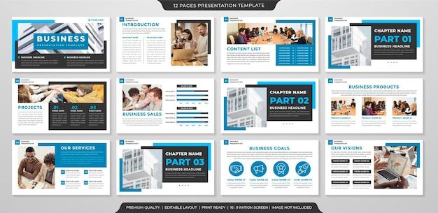 Conjunto de design de modelo de apresentação de negócios com estilo limpo e conceito simples