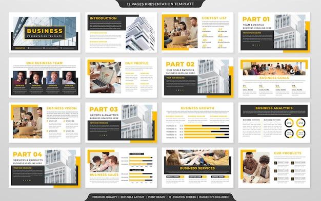 Conjunto de design de modelo de apresentação de negócios