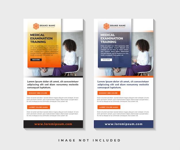 Conjunto de design de modelo de banner de enrolar retangular com título de treinamento de exame médico vertical