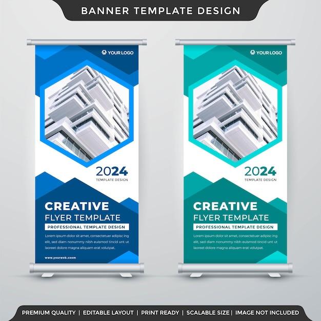 Conjunto de design de modelo de banner de estande de negócios com estilo moderno e premium