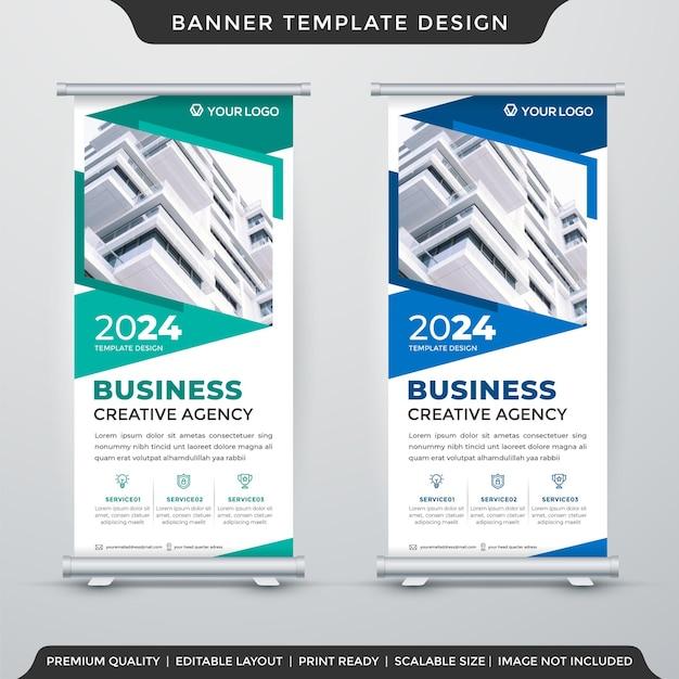 Conjunto de design de modelo de banner de roll up de negócios