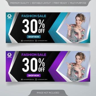 Conjunto de design de modelo de banner de venda