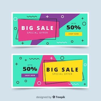 Conjunto de design de modelo de banner de vendas de memphis