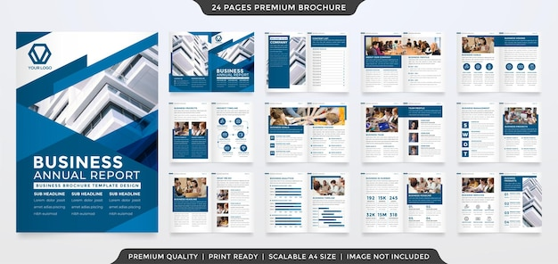 Conjunto de design de modelo de brochura a4 com estilo moderno e minimalista
