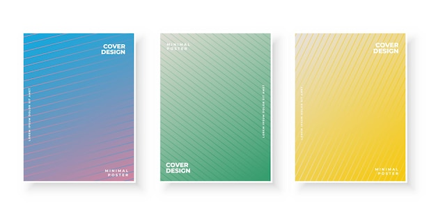 Conjunto de design de modelo de capas modernas com gradiente colorido