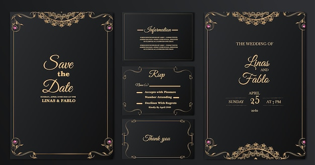 Conjunto de design de modelo de cartão de convite de casamento de luxo