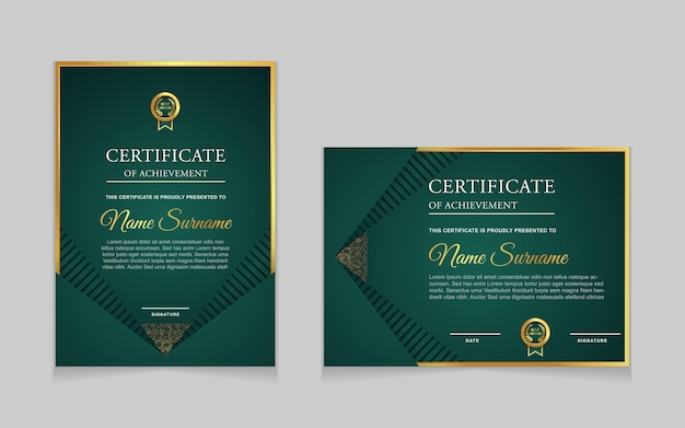 Conjunto de design de modelo de certificado com formas modernas de luxo