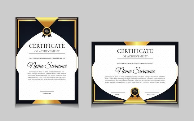 Conjunto de design de modelo de certificado com formas modernas de ouro de luxo