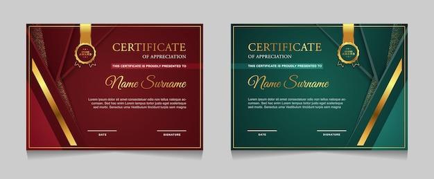 Conjunto de design de modelo de certificado com formas modernas de ouro de luxo Vetor Premium