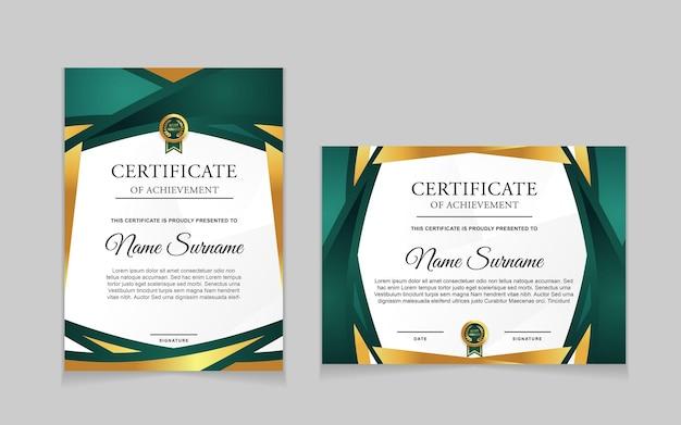Conjunto de design de modelo de certificado com formas modernas verdes e luxuosas