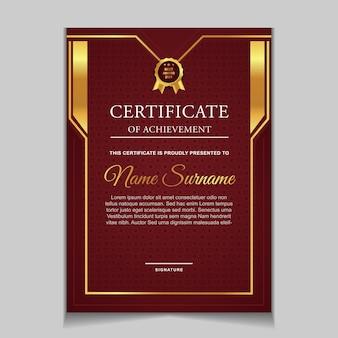 Conjunto de design de modelo de certificado com formas modernas vermelhas e luxuosas