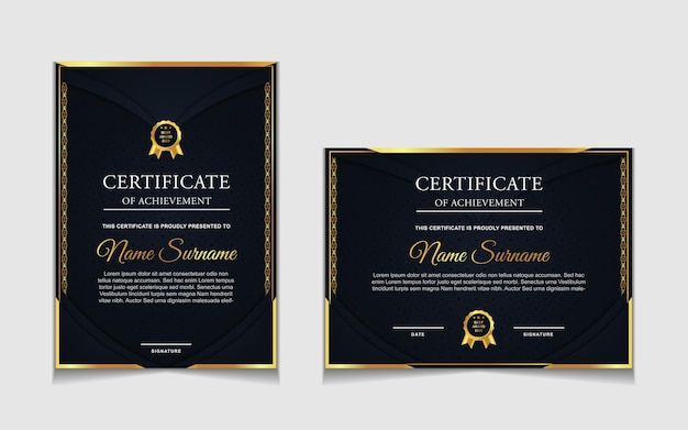 Conjunto de design de modelo de certificado em azul marinho e formas modernas de luxo