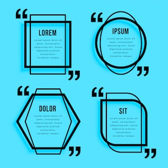 Conjunto de design de modelo de citações de estilo de linha criativa