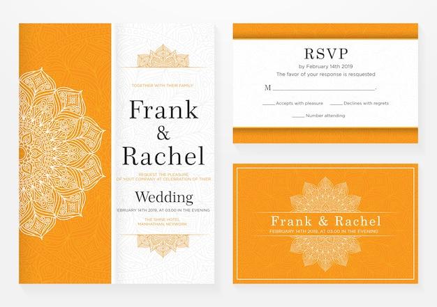Conjunto de design de modelo de convite de casamento com estilo elegante