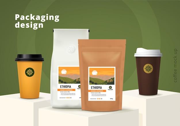 Conjunto de design de modelo de embalagem de café ilustração vetorial de maquete realista