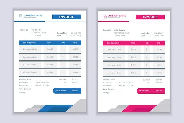 Conjunto de design de modelo de formulário de fatura empresarial moderno profissional.